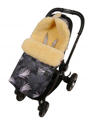 Kaiser Пухкав детски термочувал за количка с овча вълна, 90х45см, Natura Leave Black