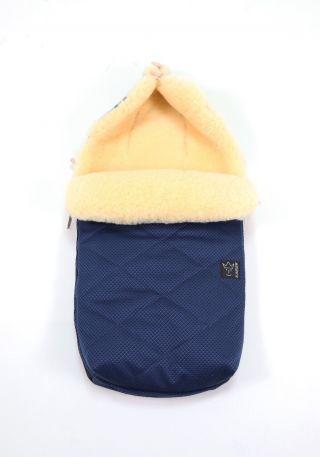 Kaiser Пухкав детски термочувал за количка с овча вълна, 90х45см, Natura Blue
