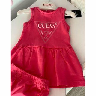 Guess бебешка рокля с лого Rouge Pink