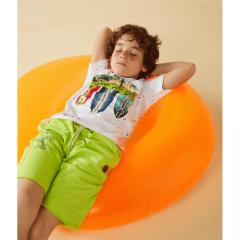 Boboli детски бермуди за момче Road Trip зелен неон