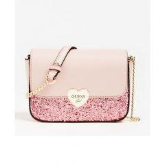 Guess официална детска чанта с брокат и лого Allie Crossbody розов