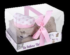 Interbaby Плюшена играчка мече за колики с черешови костилки, розов