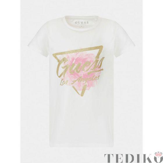 Guess детска тениска за момиче със златисто лого