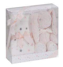 Interbaby бебешка играчка + одеяло Зайче Lapin Pink