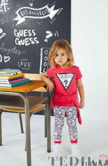 Детска цикламена тениска с пайети и лого за момиче, Guess