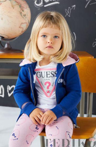 Детска бяла тениска с пайети и лого за момиче, Guess