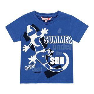 Boboli Детска памучна тениска за момче Blue&Green
